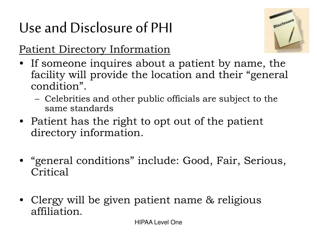 Use and Disclosure of PHI