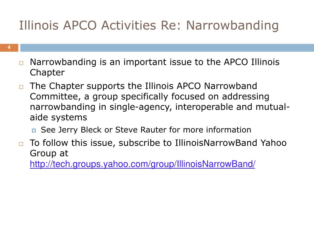 Illinois APCO Activities Re: Narrowbanding