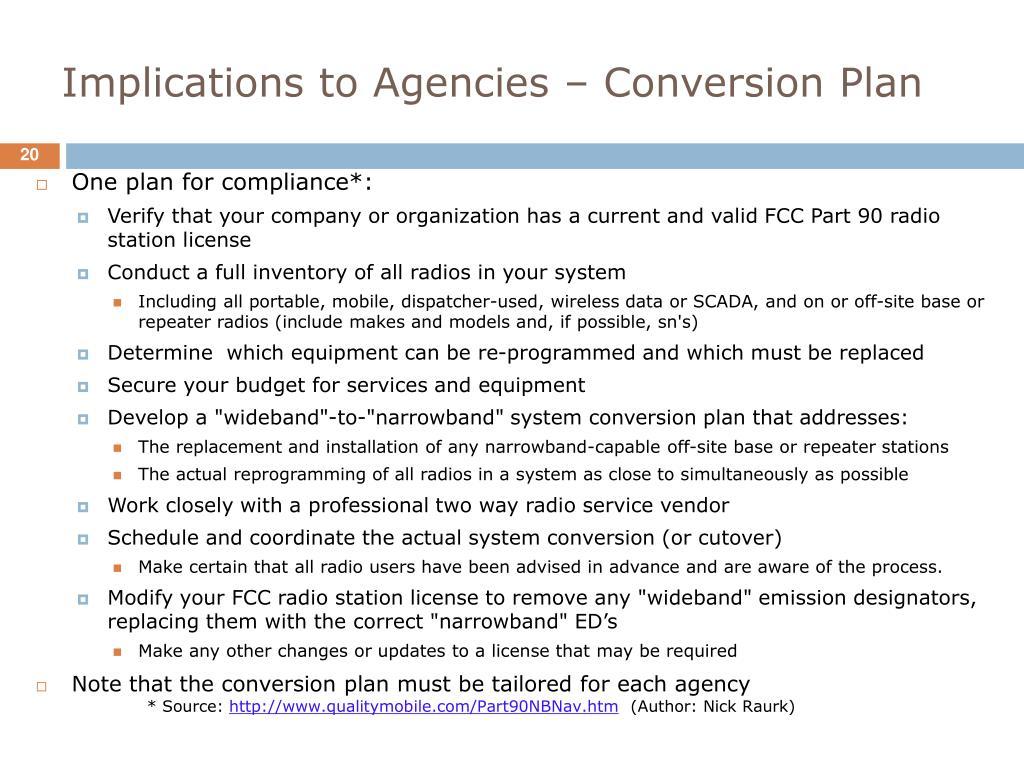 Implications to Agencies – Conversion Plan