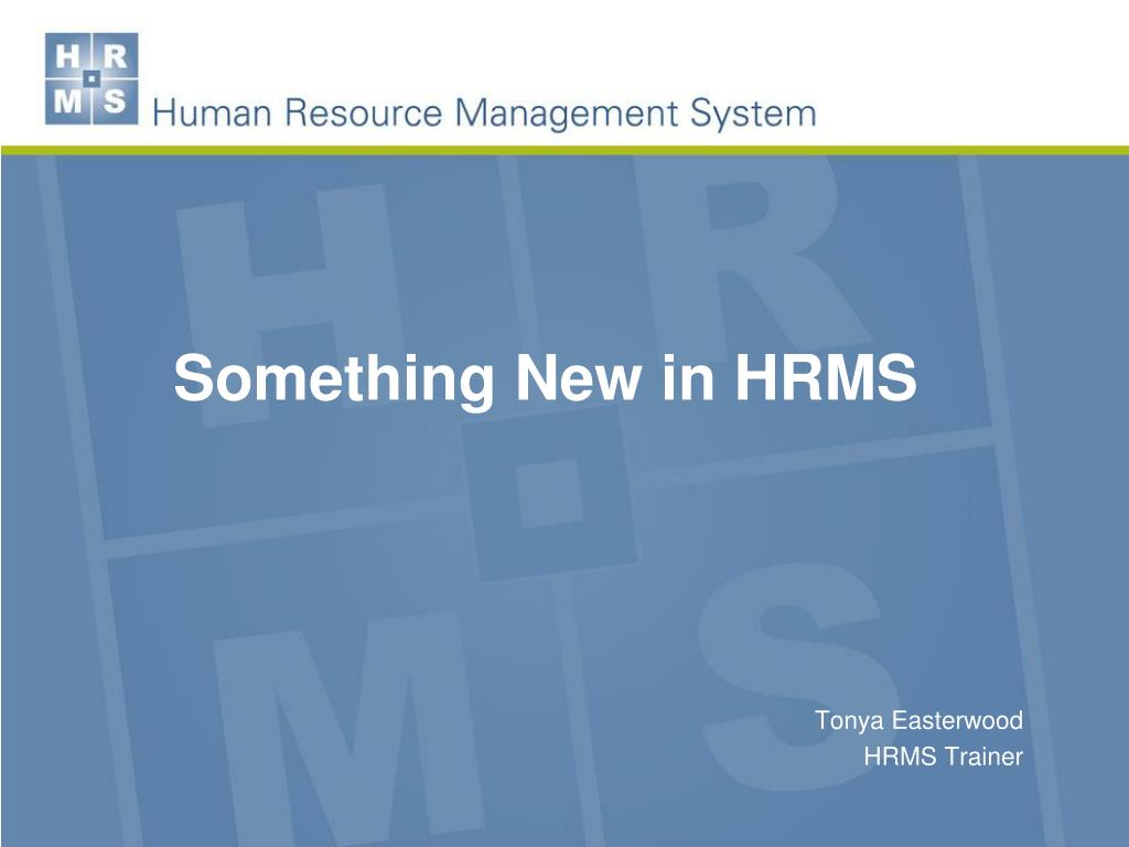 something new in hrms l.