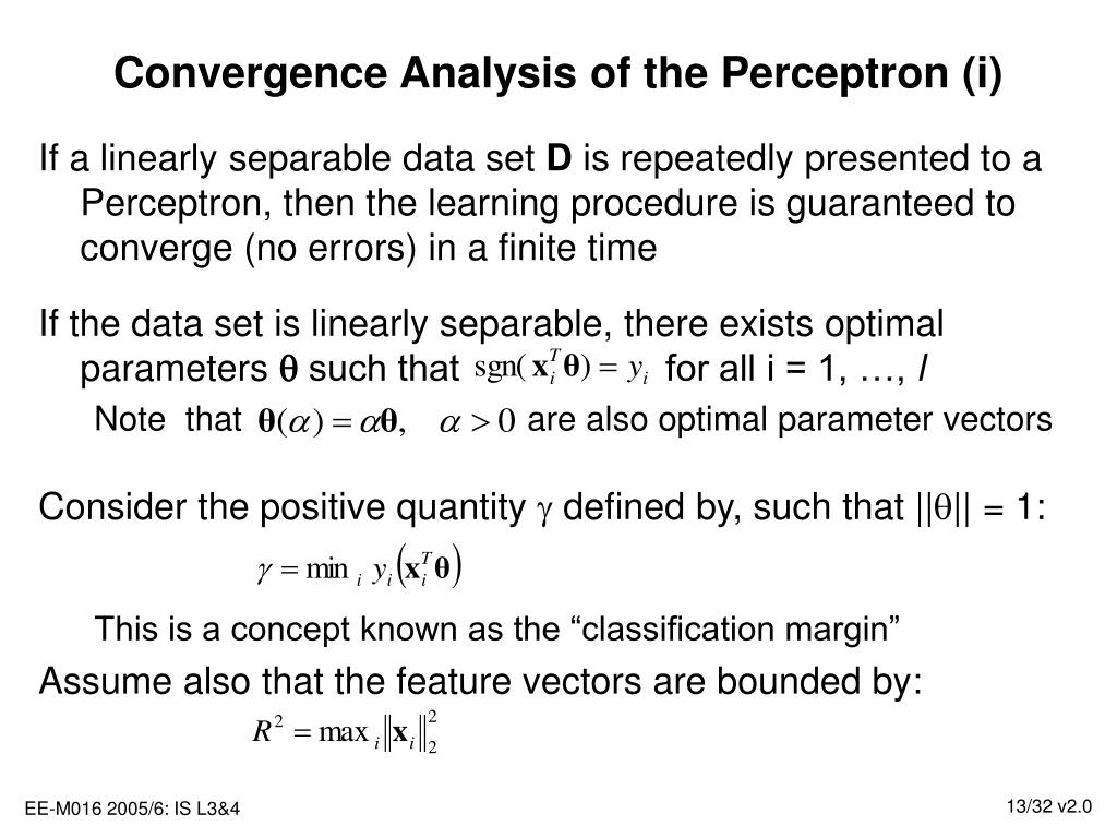 Convergence Analysis of the Perceptron (i)