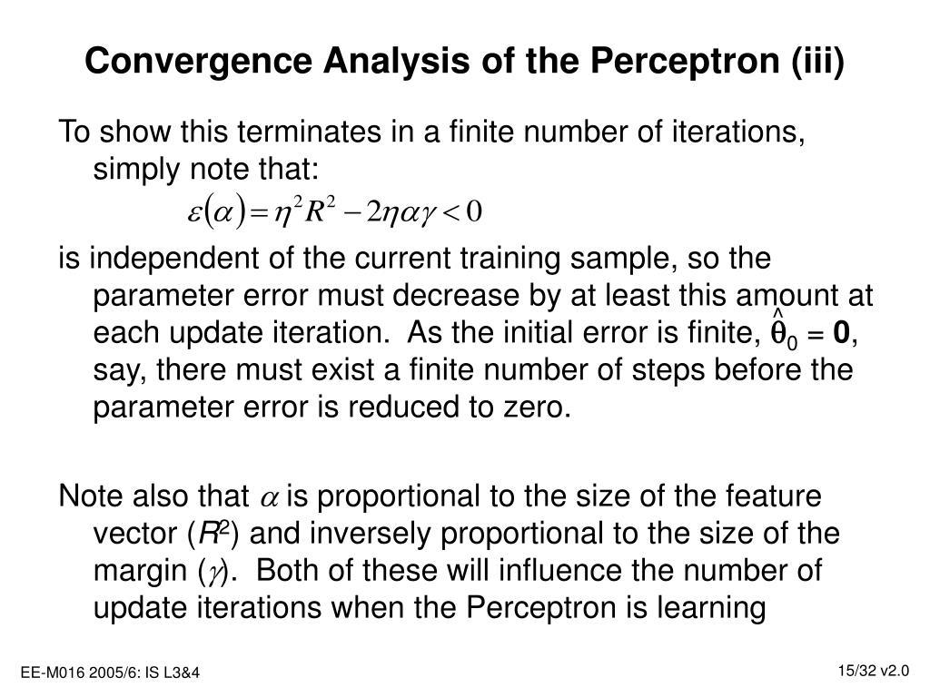 Convergence Analysis of the Perceptron (iii)