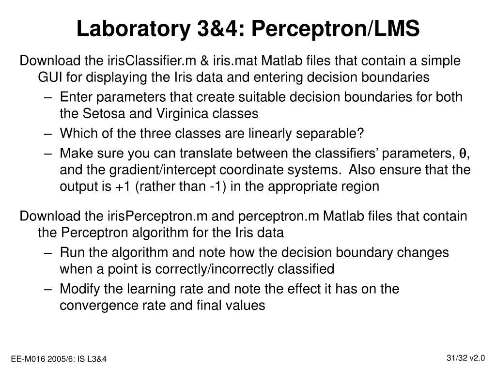 Laboratory 3&4: Perceptron/LMS