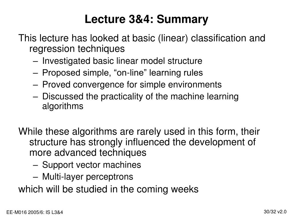 Lecture 3&4: Summary