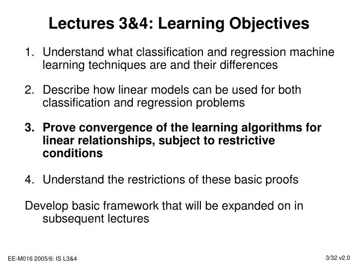 Lectures 3 4 learning objectives