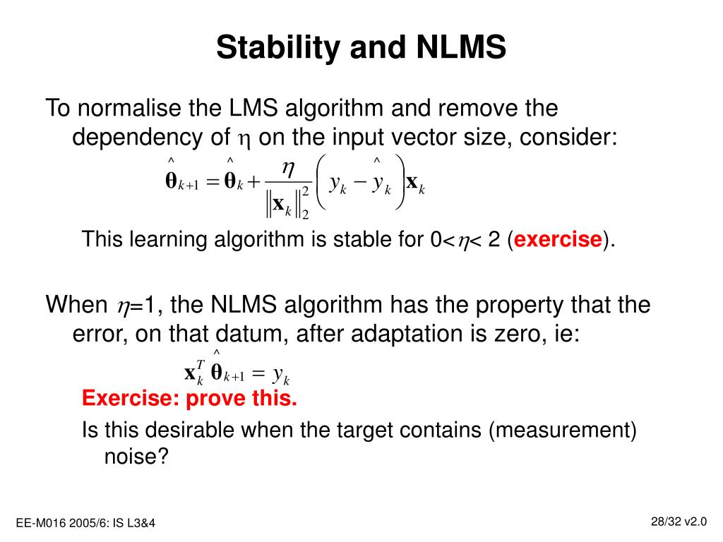 Stability and NLMS