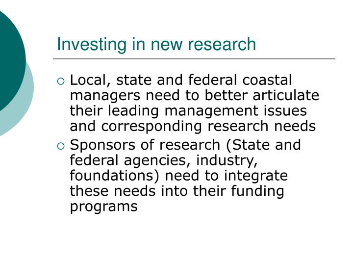 Investing in new research