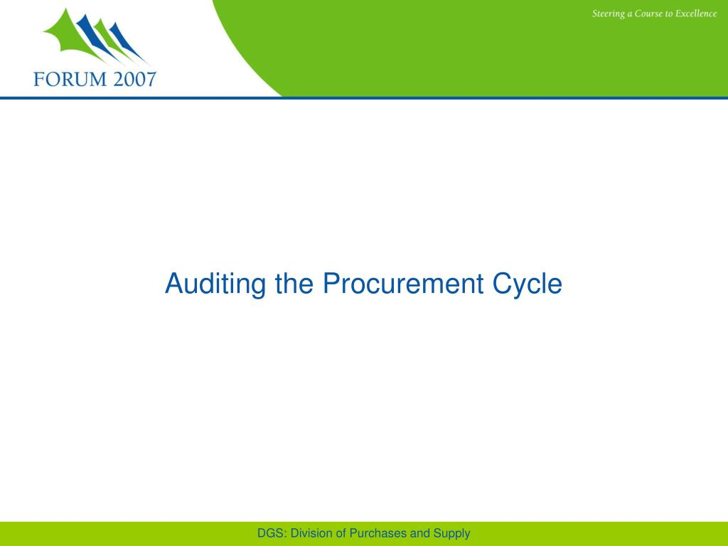 Auditing the Procurement Cycle