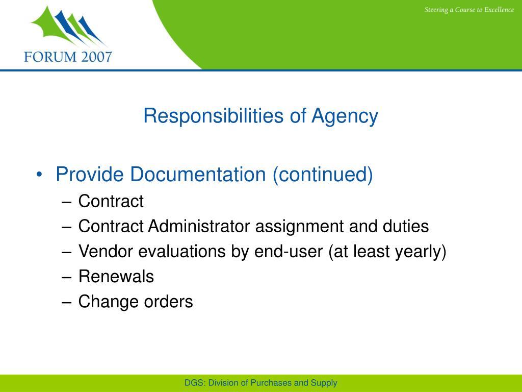 Responsibilities of Agency