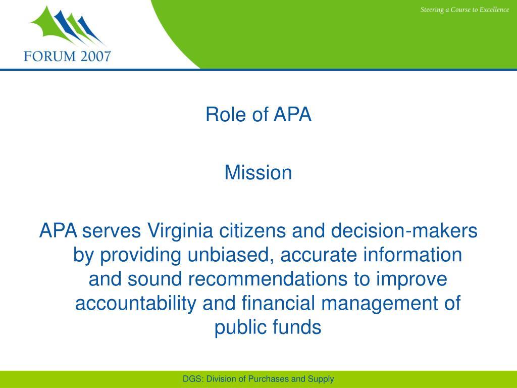 Role of APA