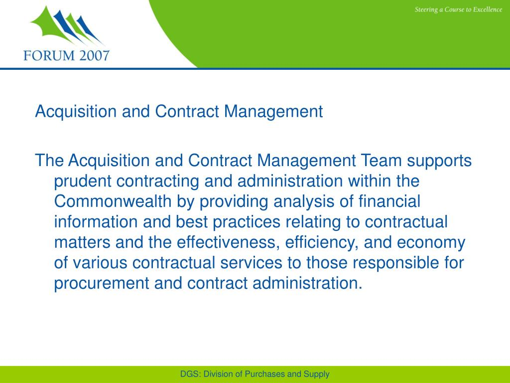 Acquisition and Contract Management