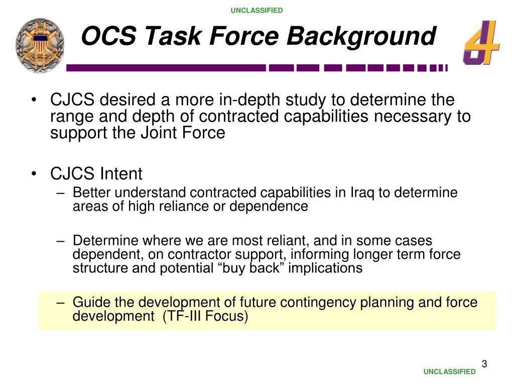 OCS Task Force Background
