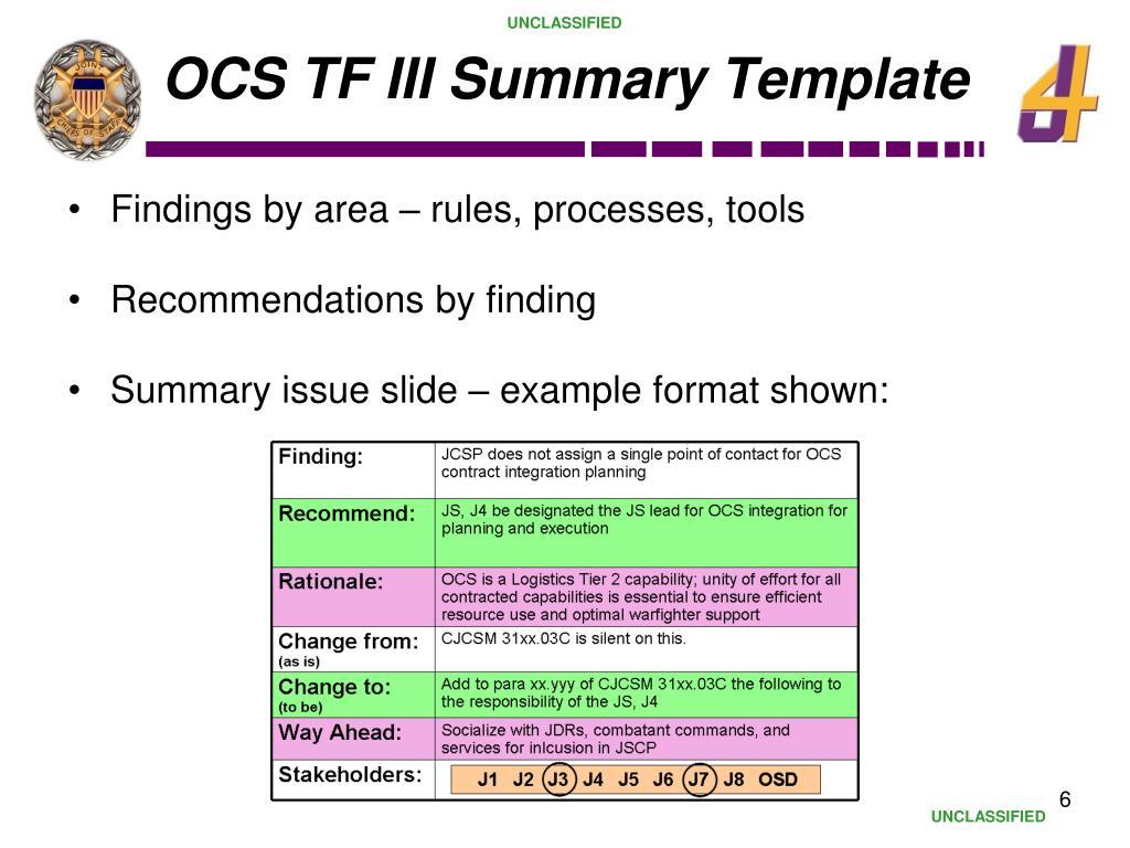 OCS TF III Summary Template