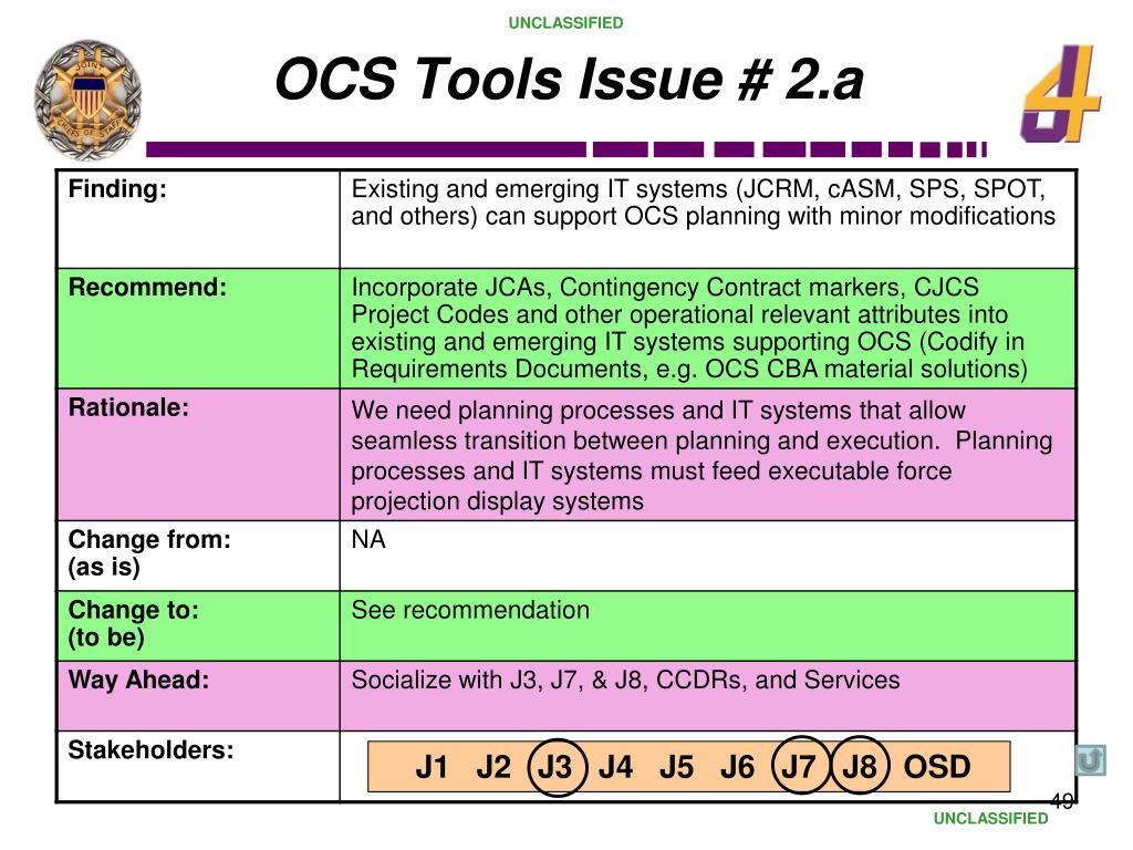 OCS Tools Issue # 2.a