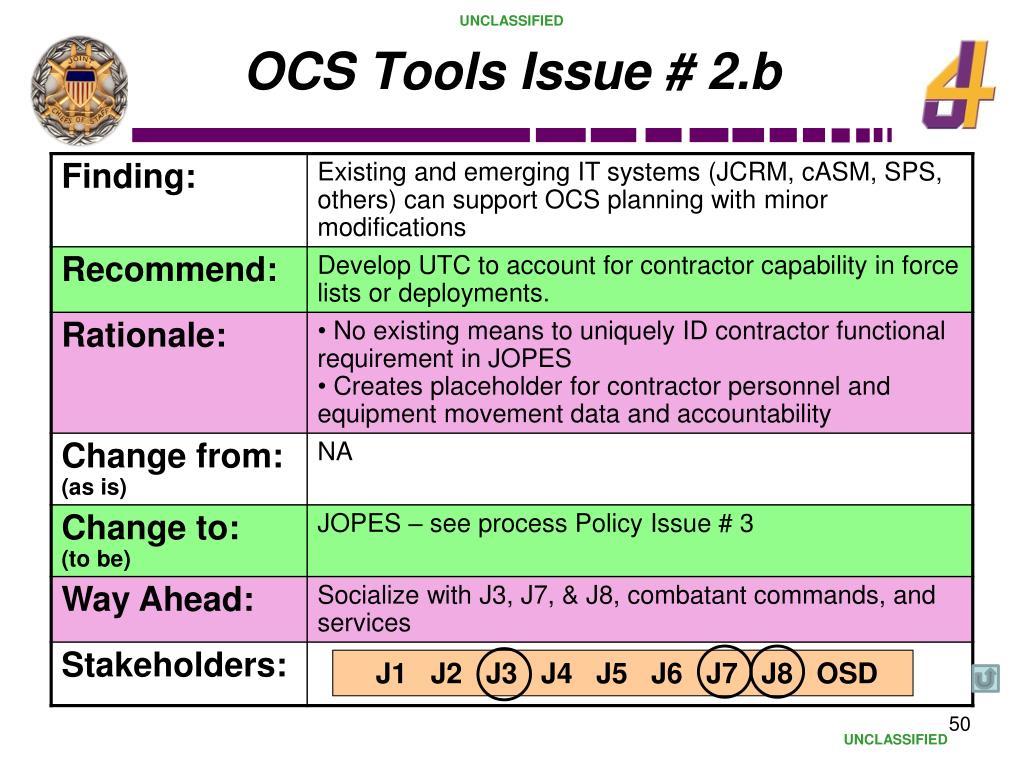 OCS Tools Issue # 2.b