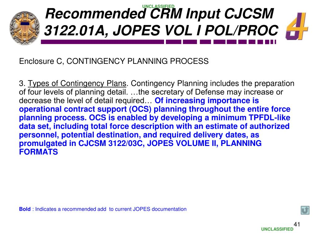 Recommended CRM Input CJCSM