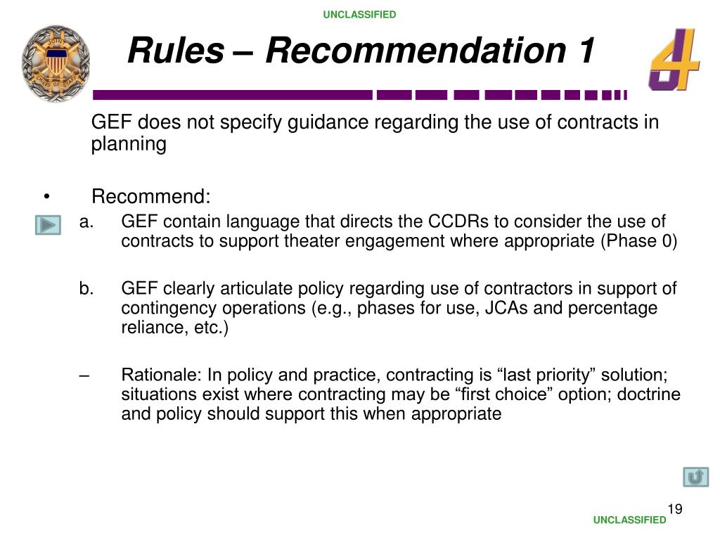 Rules – Recommendation 1