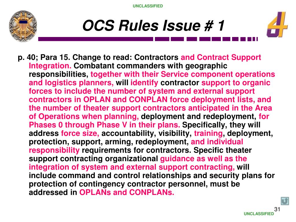 OCS Rules Issue # 1