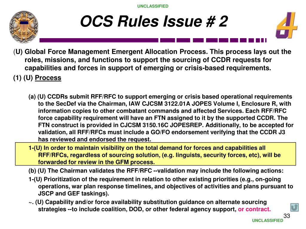 OCS Rules Issue # 2