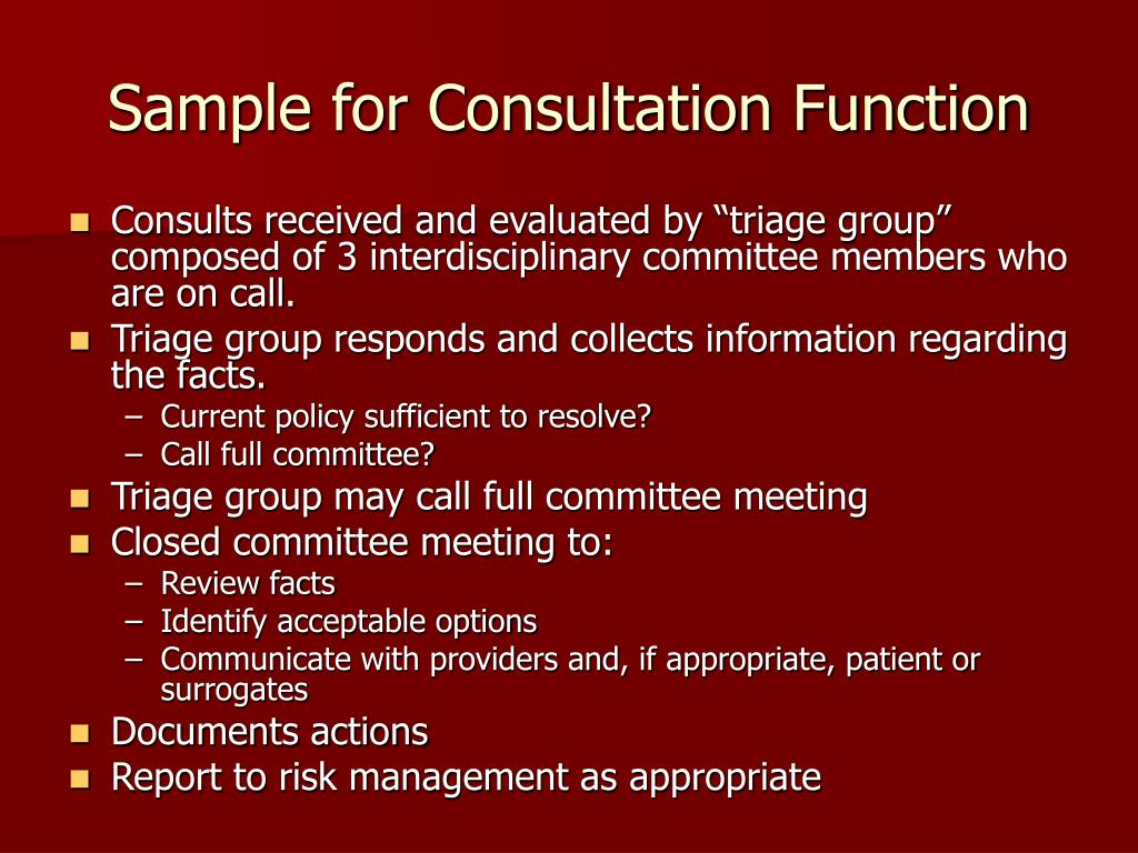 Sample for Consultation Function