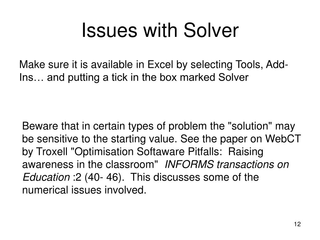 Issues with Solver
