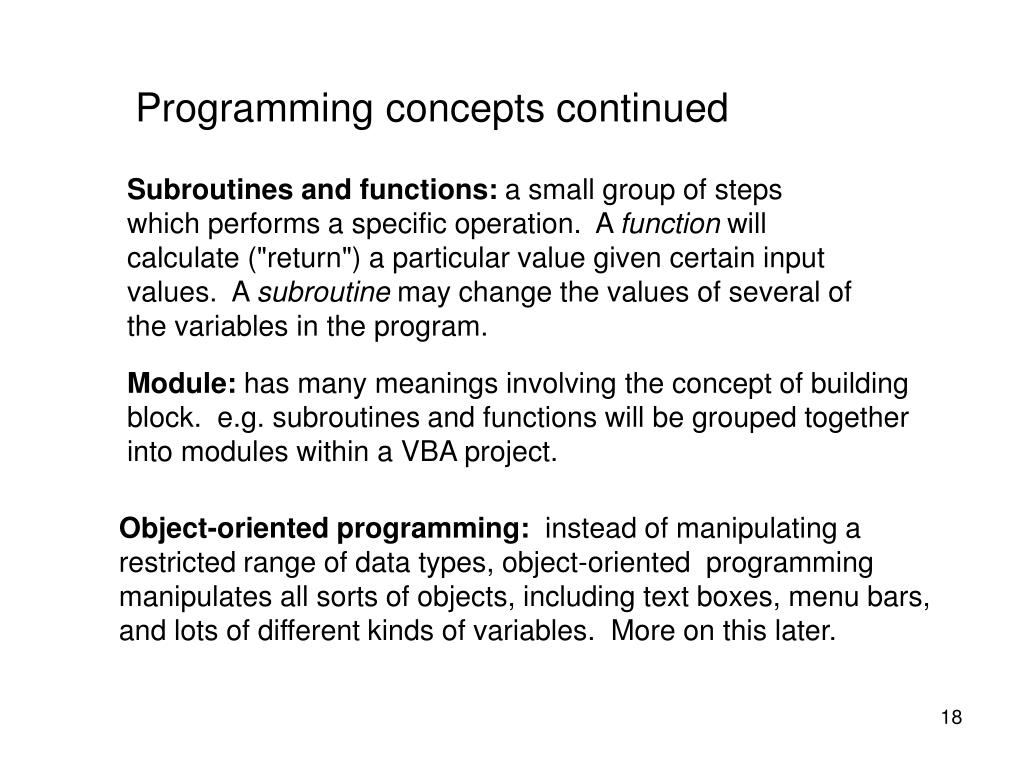Programming concepts continued