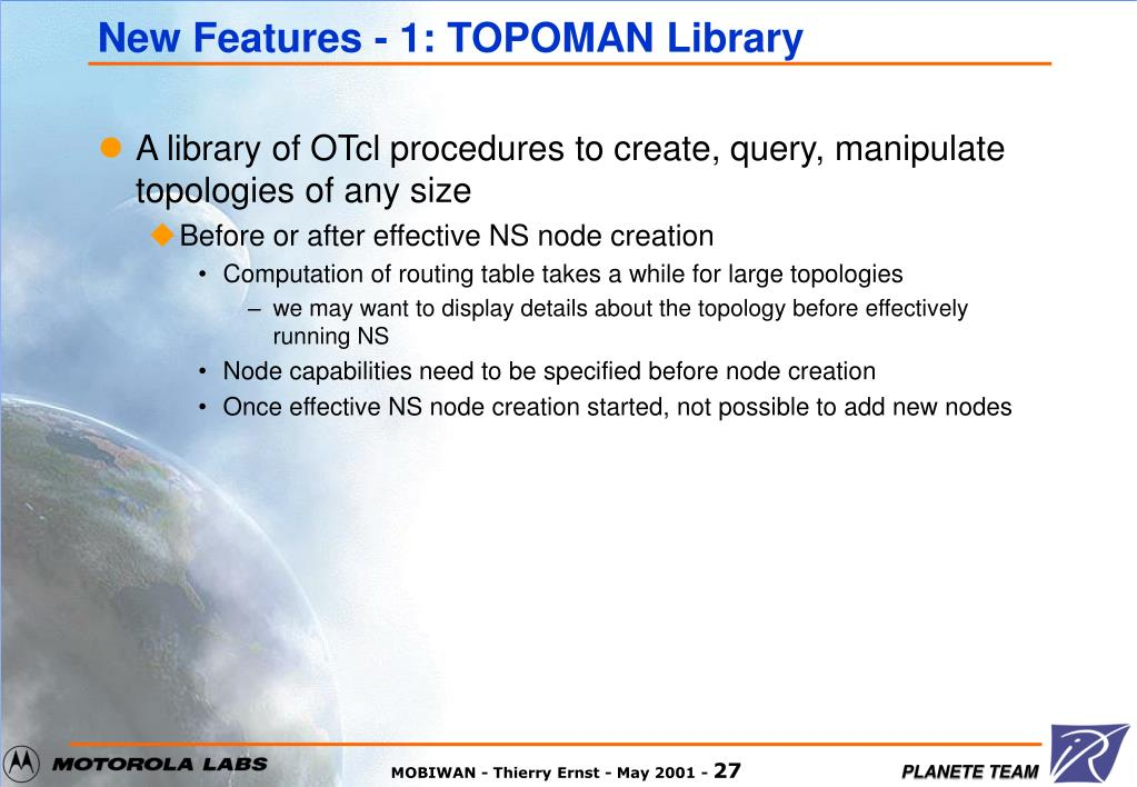 New Features - 1: TOPOMAN Library
