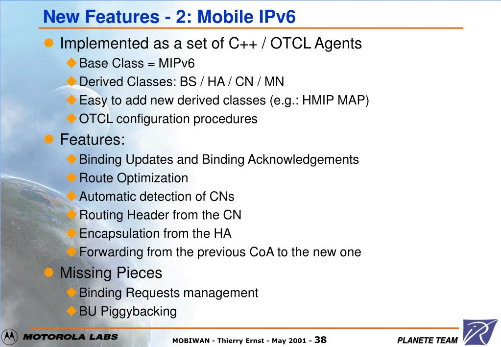 New Features - 2: Mobile IPv6