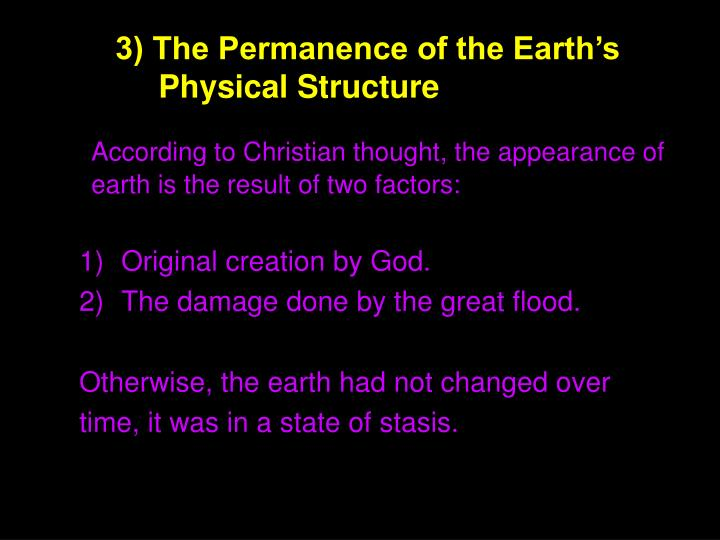 3) The Permanence of the Earth's