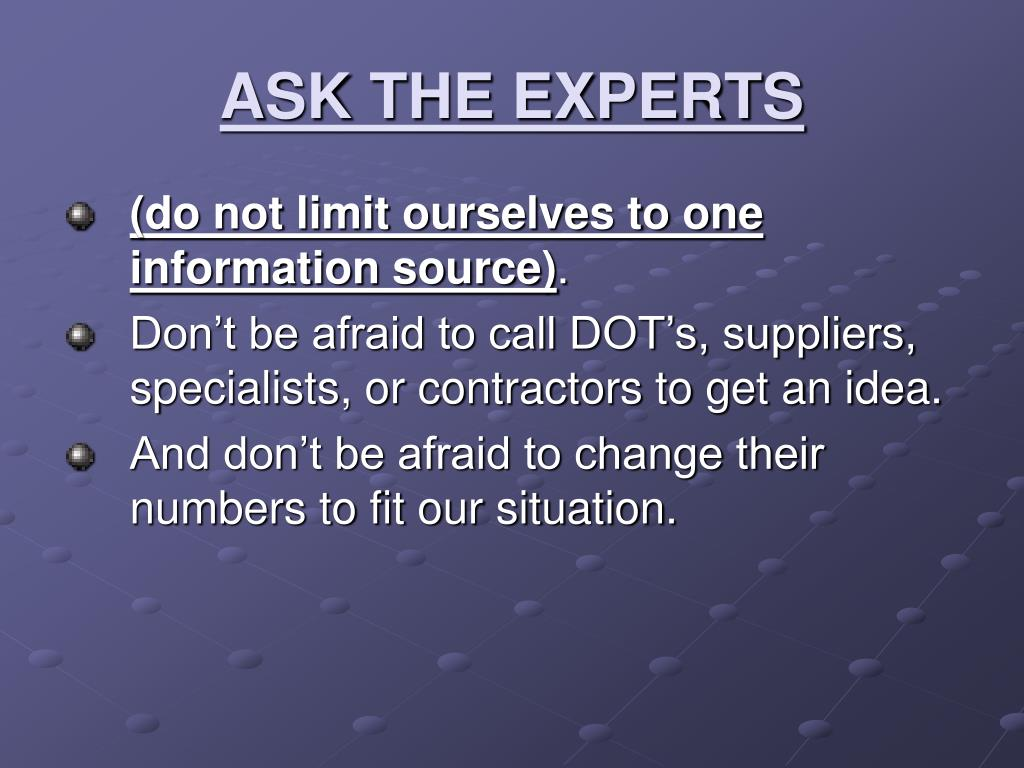 ASK THE EXPERTS