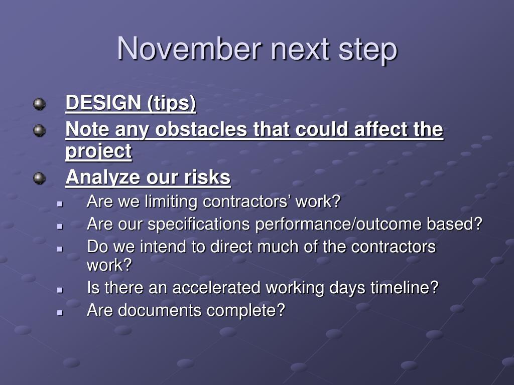 November next step