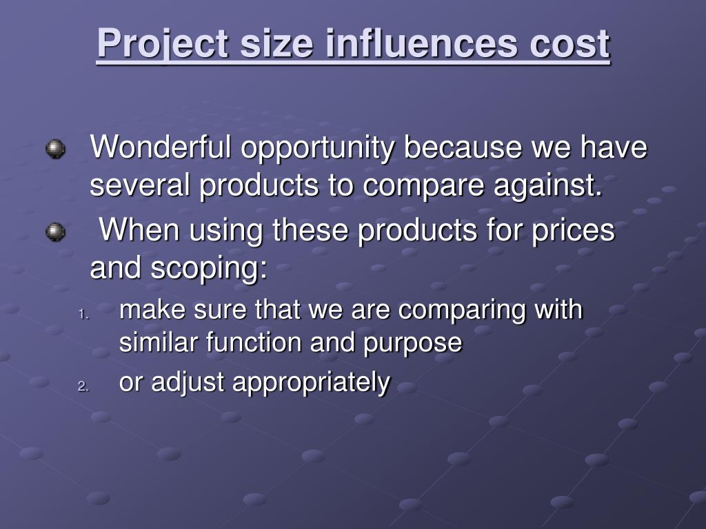 Project size influences cost