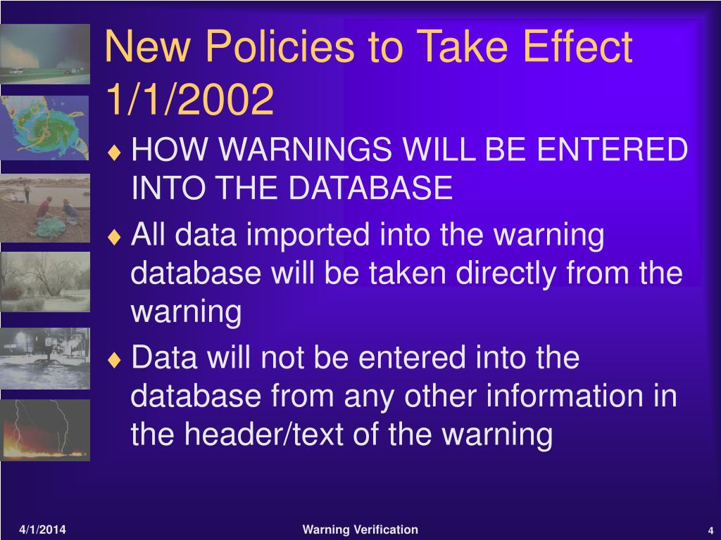New Policies to Take Effect 1/1/2002