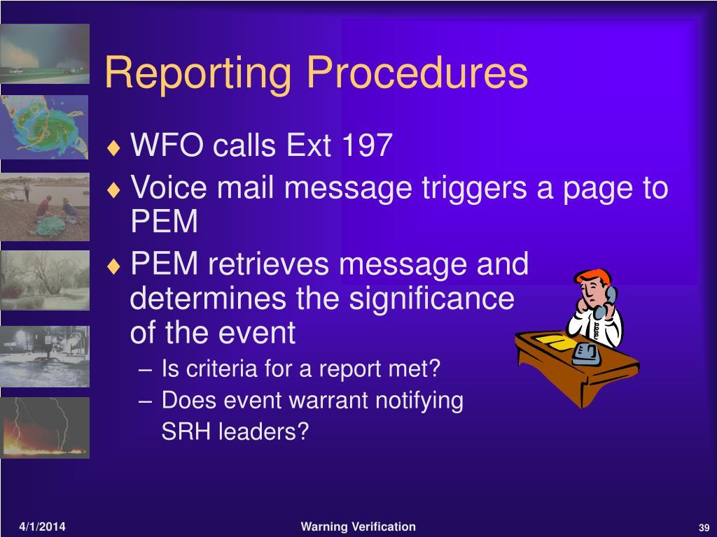 Reporting Procedures