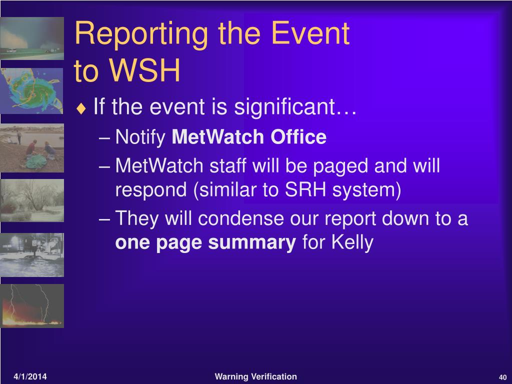Reporting the Event