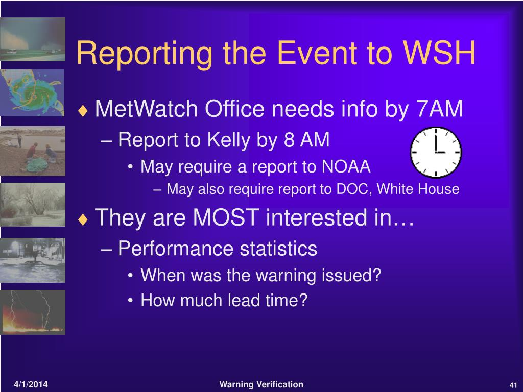 Reporting the Event to WSH