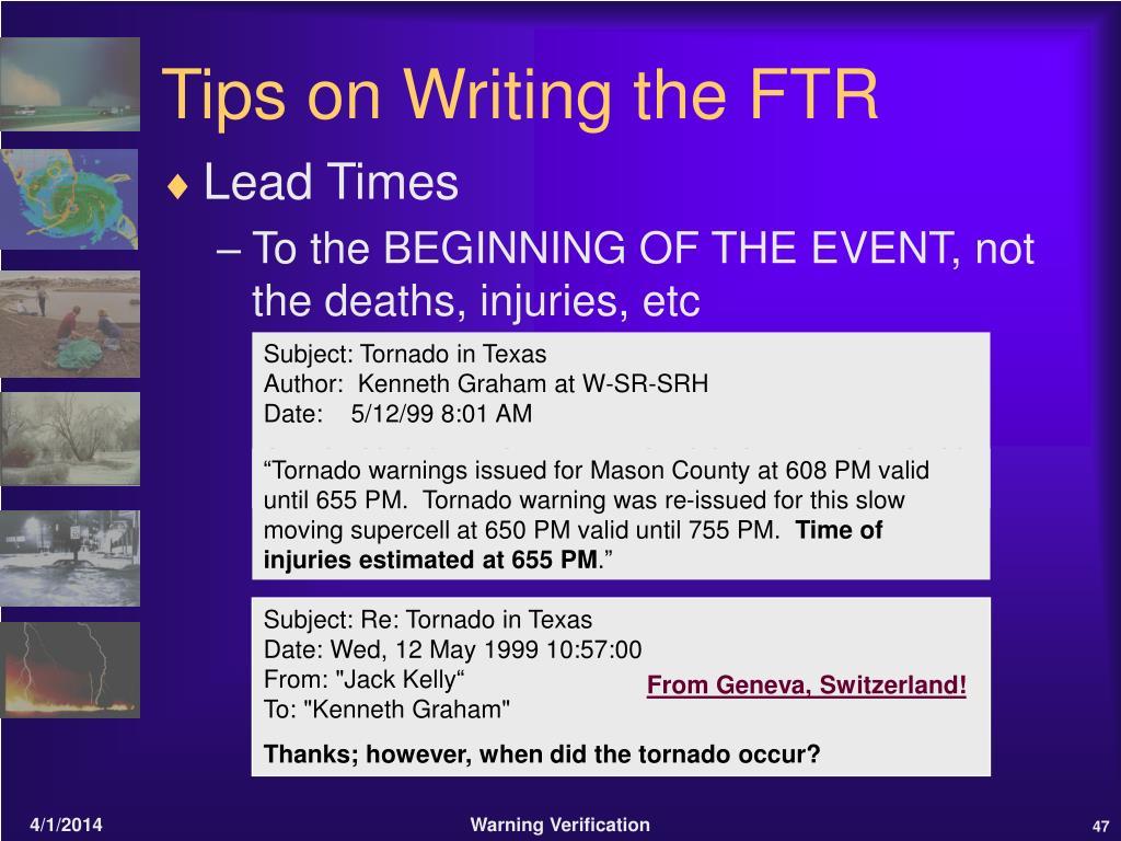 Tips on Writing the FTR
