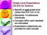 grade level expectations gles for science