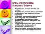 show me knowledge standards science