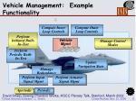 vehicle management example functionality