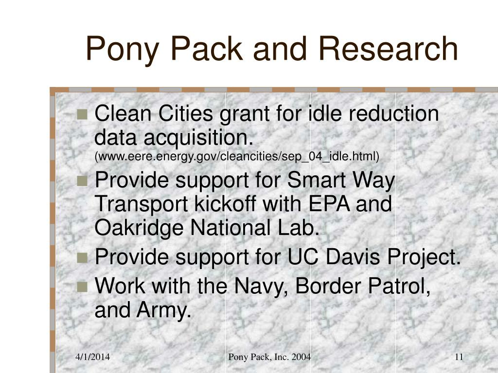 Pony Pack and Research