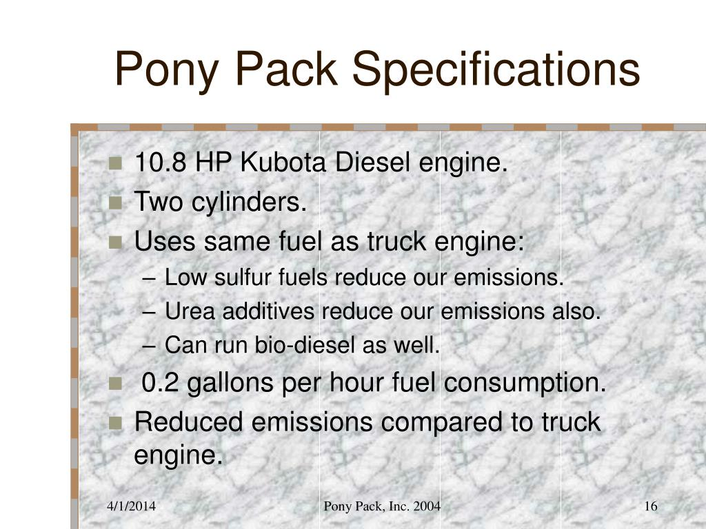 Pony Pack Specifications