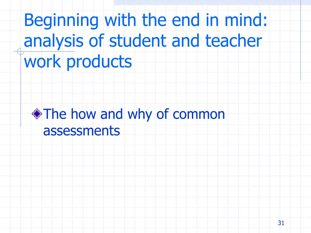 Beginning with the end in mind: analysis of student and teacher work products