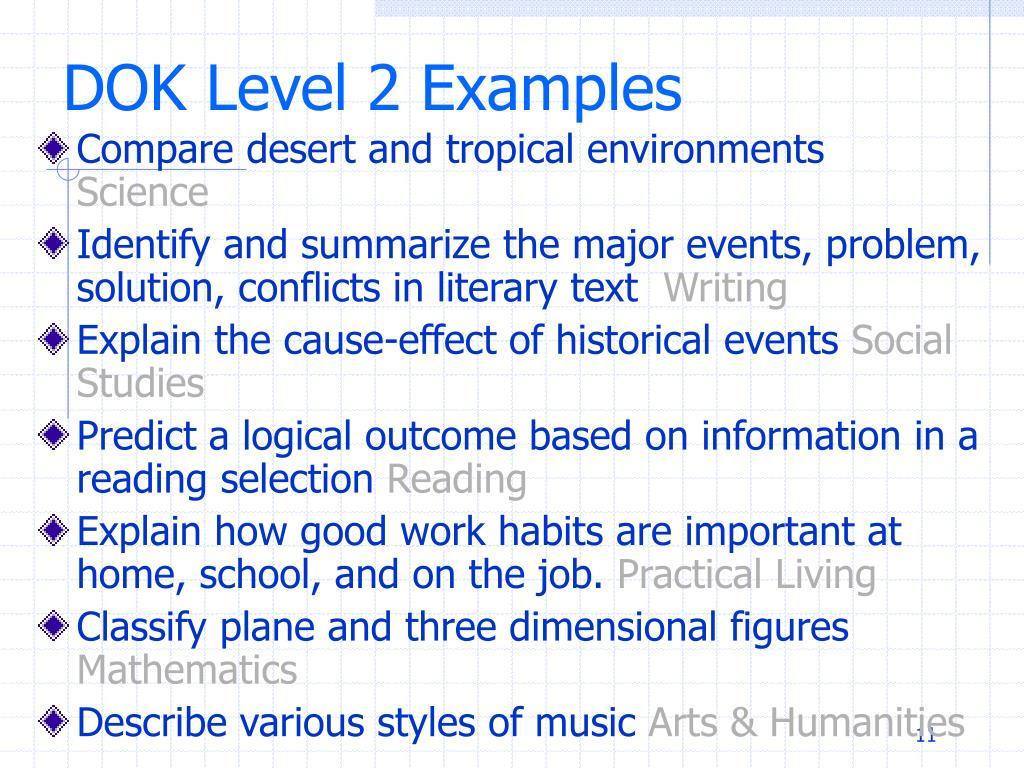 DOK Level 2 Examples
