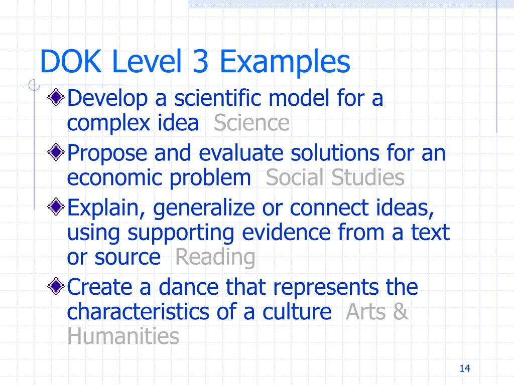 DOK Level 3 Examples