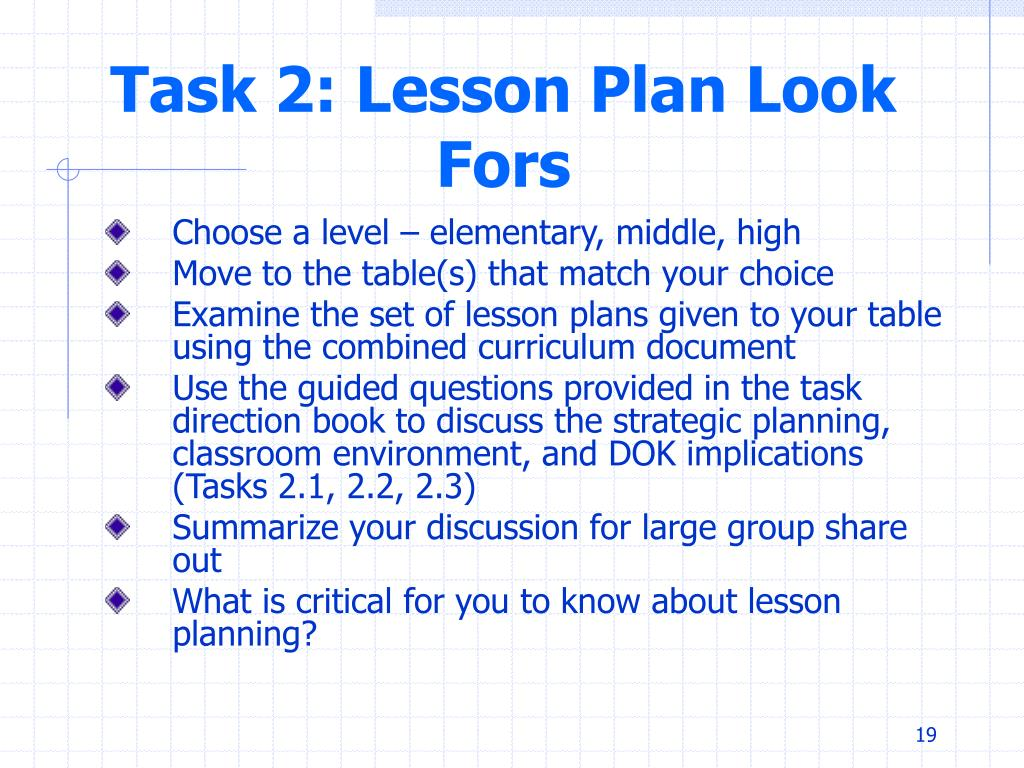 Task 2: Lesson Plan Look Fors