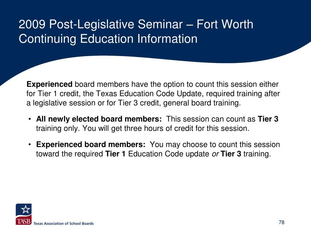 2009 Post-Legislative Seminar – Fort Worth