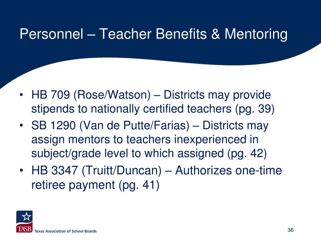 Personnel – Teacher Benefits & Mentoring