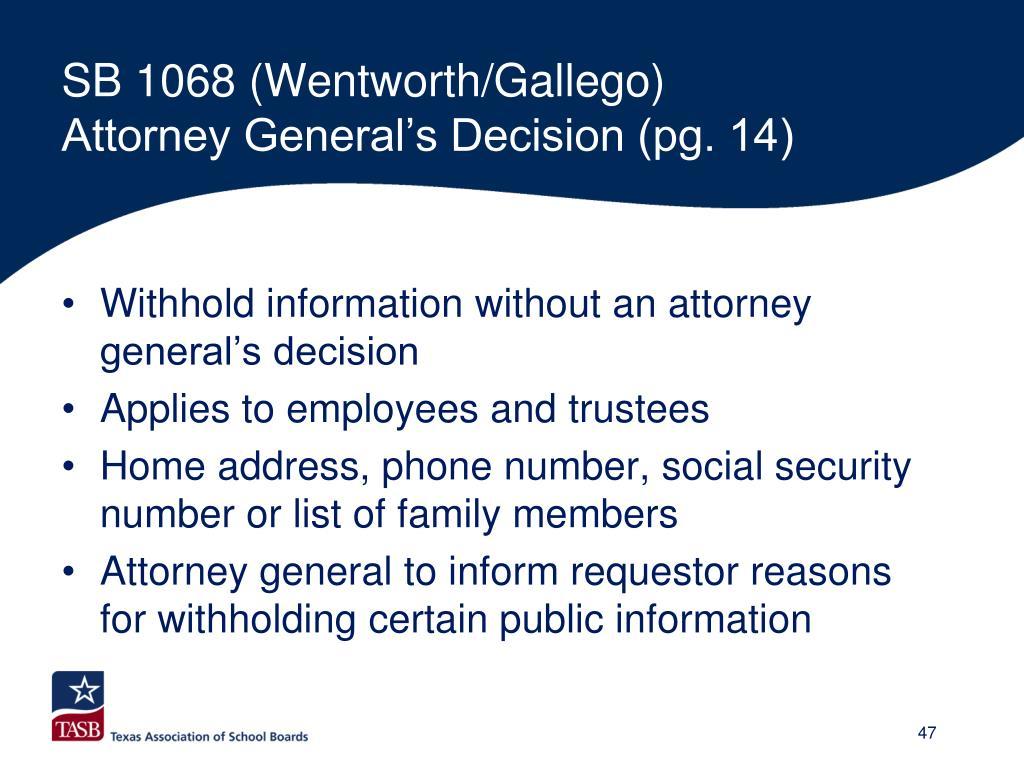 SB 1068 (Wentworth/Gallego)