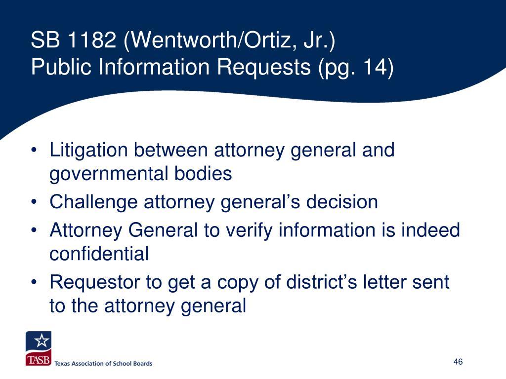 SB 1182 (Wentworth/Ortiz, Jr.)